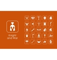 Set of knight and war simple icons vector image vector image