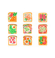 set of sandwiches with different vector image vector image