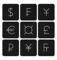 Set symbols of world currencies vector image vector image