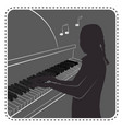 silhouette avatar girl piano vector image vector image