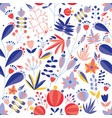 summer seamless pattern with blooming flowers on vector image