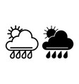 sun and rain line and glyph icon weather vector image vector image