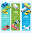 Transport Isometric Banners Vertical vector image vector image