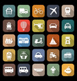transportation flat icons with long shadow vector image