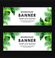 watercolor tropical leaves banner vector image vector image