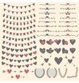 Wedding set of hearts arrows garlands laurel vector image