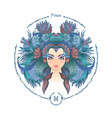 zodiac sign portrait a woman pisces vector image