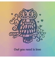 Owl om the branch silhouette with funny statement vector image