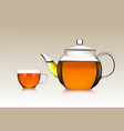 cup and teapot of green tea vector image