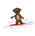 Teddy bear on snowboards vector image