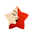A ladys face in a red flower vector image vector image