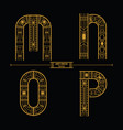 alphabet art deco style in a set mnop vector image