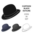 Bowler hat icon in cartoon style isolated on white