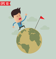 business man run over globe - - eps10 vector image