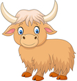 Cartoon funny yak isolated on white background vector image vector image