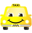 cartoon smiling taxi car vector image vector image