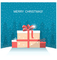 christmas presents on winter snow landscape vector image vector image