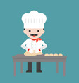 cute pastry chef threshing flour or kneading vector image vector image