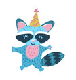 cute raccoon with cone hat vector image