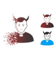 destructed pixel halftone devil priest icon vector image vector image