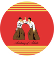 Emblem of aikido two men get busy on a red vector image vector image