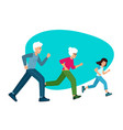 family sports grandparents with a child running vector image vector image