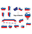 flag slovenia big set icons and symbols vector image vector image