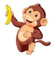 funny monkey running and holding banana vector image vector image