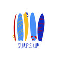 funny with colorful surfboards vector image