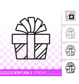 gift box simple black line present bow icon vector image vector image