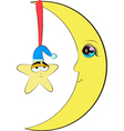 Half moon and star cartoon vector image vector image