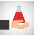 hand holding medical tube research vector image vector image