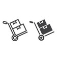 hand truck with boxes line and glyph icon vector image vector image