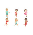 happy kids running set adorable boys and girls vector image vector image