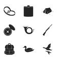 Hunting set icons in black style Big collection vector image vector image