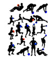 man and woman doing exercise detail silhouette vector image vector image
