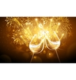 New Year fireworks and champagne vector image