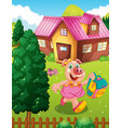 pig student holding backpack vector image
