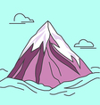 Purple mountain with clods Snowy peak vector image vector image