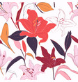 red lilies hand-drawn background summer flowers vector image vector image