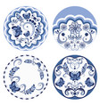 round blue floral ornaments vector image
