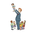 School teacher of elementary grades and children vector image