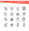 set linear icons - online support vector image vector image