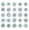set minimalistic line geometrical snowflakes vector image