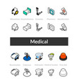 set of isometric icons in outline style colored vector image vector image