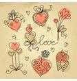 Set of sketch hearts