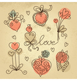 set sketch hearts vector image