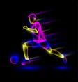 soccer player running with soccer ball vector image