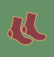 socks sign cordovan icon and mellow vector image vector image