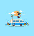 summer vacation surf bus sunset tropical beach vector image vector image